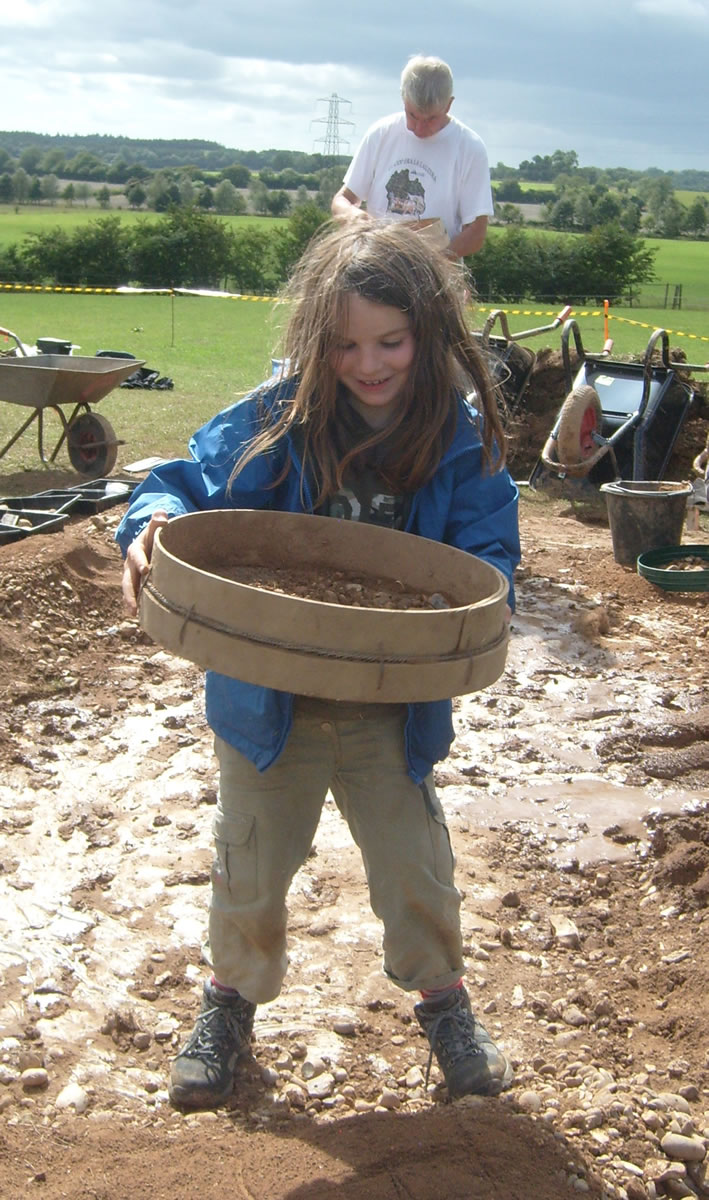 The all-important sieving of the soil from Pegasus Barrow.