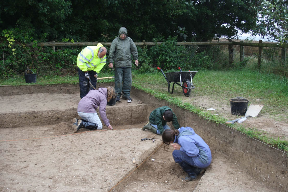 Excavations well underway over the terminal of Dampney Barrow's ditch.