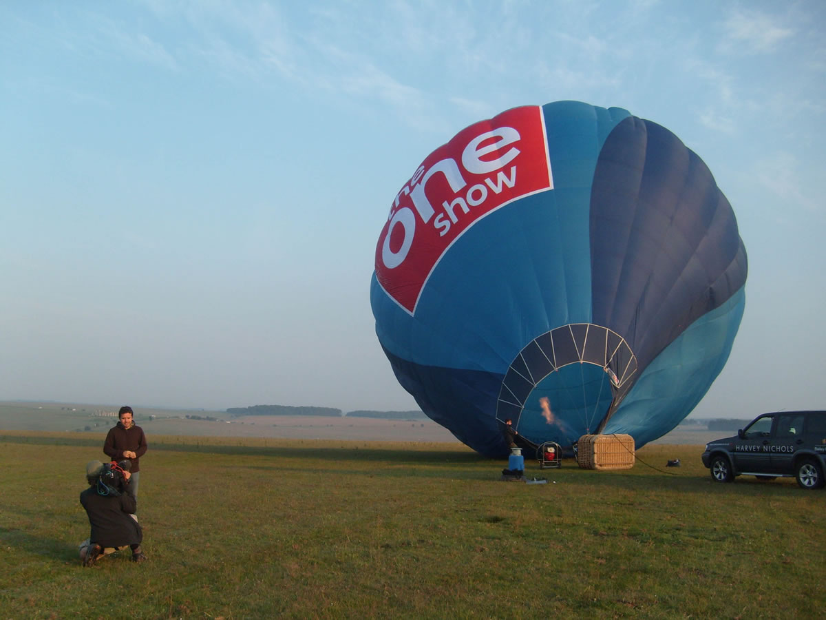 The One Show's Jamie Crawford in action as the balloon is inflated.