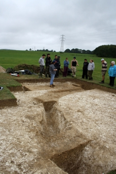 Area E, midway through excavation: Sheila explains the relationship between the linear ditches.